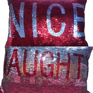 Pier 1 Imports Red& Silver Naughty or Nice Pillow